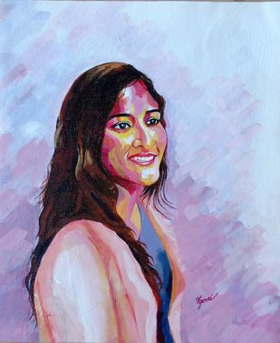 Tanval by Harshada, Expressionism Painting, Acrylic & Ink on Canvas, Cyan color