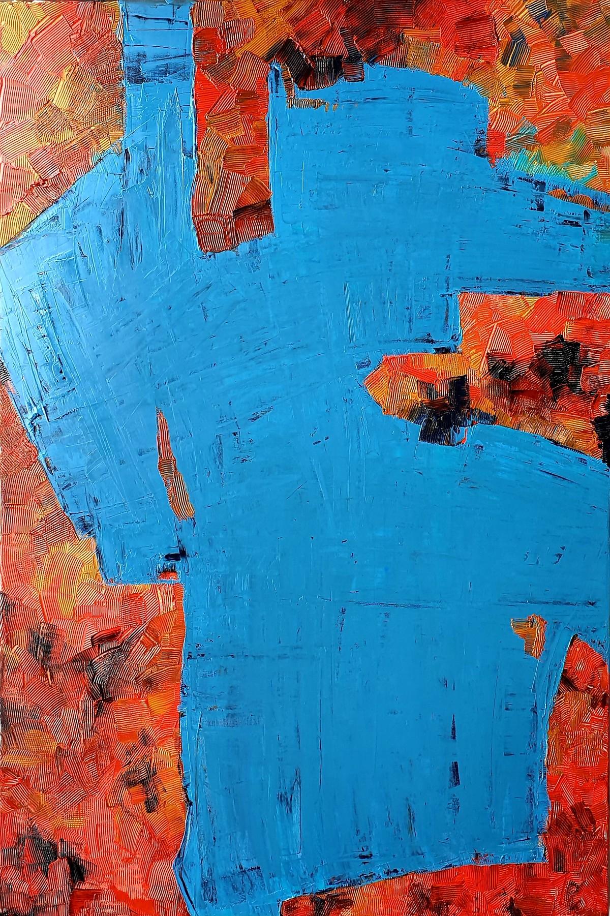 Familiar Boundaries by RUCHIKA KAWLRA MOTWANI, Abstract Painting, Oil on Linen, Blue color