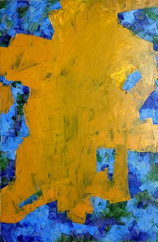 binding boundaries by RUCHIKA KAWLRA MOTWANI, Abstract Painting, Oil on Linen, Orange color