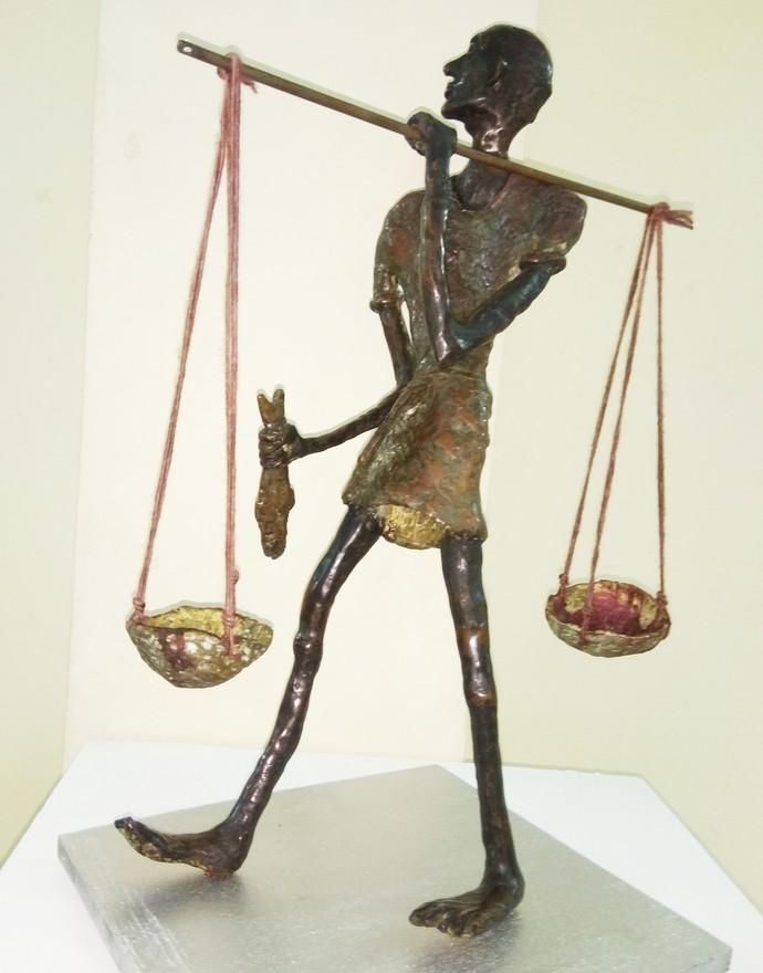 The Fish Hawker by Usha Ramachandran, Art Deco Sculpture | 3D, Bronze, Beige color