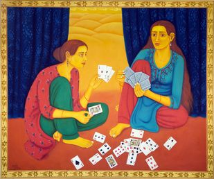 Indoor Game by Sabia Khan, Expressionism Painting, Oil on Canvas, Brown color