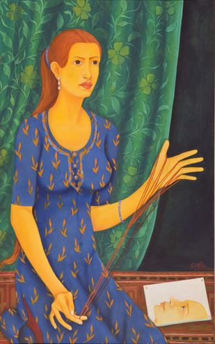 Lifelines by Sabia Khan, Expressionism Painting, Oil on Canvas, Green color