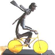 The cyclist by Usha Ramachandran, Art Deco Sculpture | 3D, Metal, White color