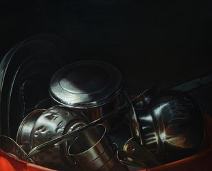 Rest- 7 by Anil Kumar Yadav, Realism Painting, Acrylic on Canvas, Black color