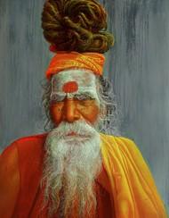 Sadhu -7 by Anil Kumar Yadav, Realism Painting, Acrylic on Canvas, Brown color
