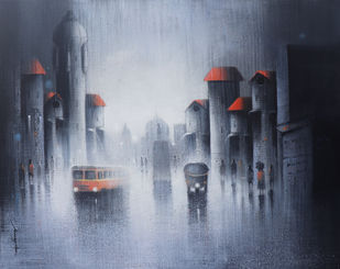 Monsoon Ride in pune by Somnath Bothe, Expressionism Painting, Acrylic on Canvas, Blue color