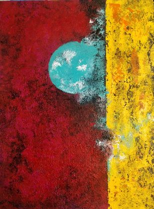 Impression - 2 by Ankita Dey Bhoumik, Abstract Painting, Acrylic on Canvas, Red color