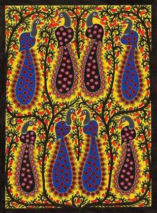 Peacocks by Sarita Devi, Folk Painting, Acrylic on Paper, Brown color