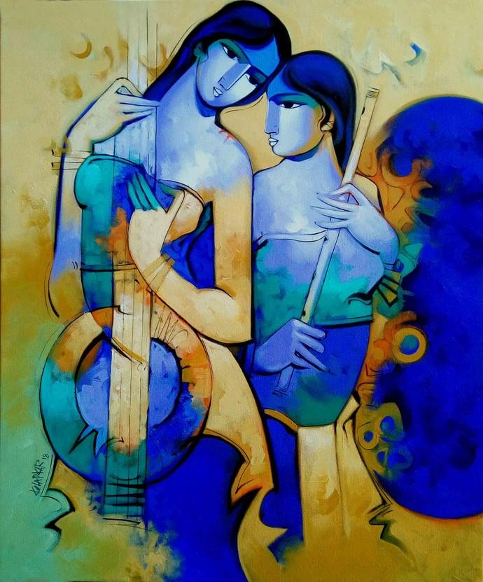 Concert-7974 by Arvind Kolapkar, Expressionism Painting, Acrylic on Canvas, Blue color