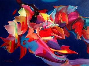 Colour of the Universe VIII by Sumitava Maity, Abstract Painting, Oil on Canvas, Blue color