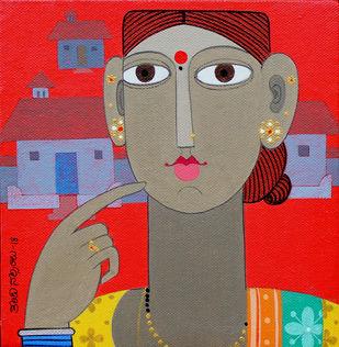 Telangana woman 2 by Kandi Narsimlu, Expressionism Painting, Acrylic on Canvas, Brown color