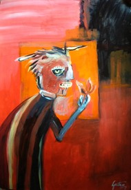 Man approaching by Gautam Das, Fantasy Painting, Acrylic on Paper, Brown color