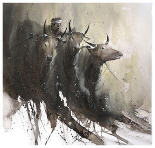 cow_01 Digital Print by nadees prabou,Impressionism