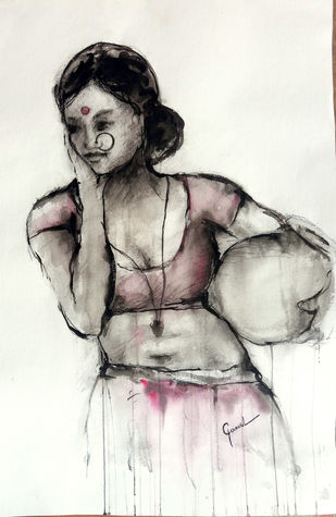 Indian lLady 16 by MADURAI GANESH, Illustration Painting, Watercolor and charcoal on paper, Gray color