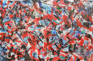 Red Flagged Digital Print by Roshni Tosher H,Abstract