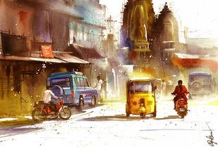 Street Summer_01 Digital Print by nadees prabou,Impressionism