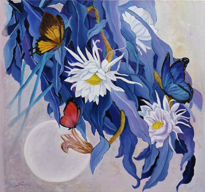 Flower with butterfly 10 by Sulakshana Dharmadhikari, Expressionism Painting, Oil on Canvas, Blue color