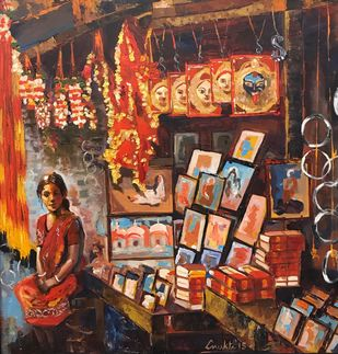 HOPE ON SALE by Anukta Mukherjee Ghosh, Expressionism Painting, Acrylic on Canvas, Brown color