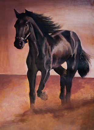 Great Stallion Digital Print by Pankaj Kumar,Realism
