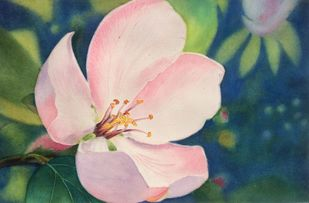 Bliss by Shiva Baraya, Impressionism Painting, Watercolor on Paper, Green color