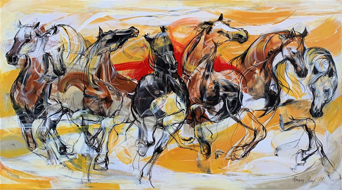 Running Horses By Artist Priyendra Shukla Expressionism Painting Mojarto 270903