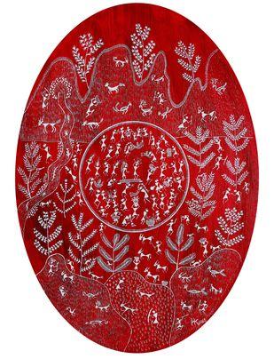 ANCIENT WARLI ARTS ON CANVAS by HARPREET KAUR PUNN, Folk Painting, Acrylic on Canvas, Red color