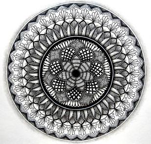 Flower Zendala by Shweta, Illustration Drawing, Ink on Paper, Gray color
