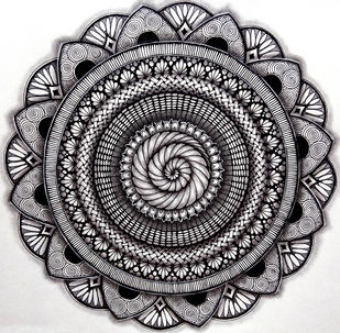 Spiral Maze by Shweta, Illustration Drawing, Ink on Paper, Gray color