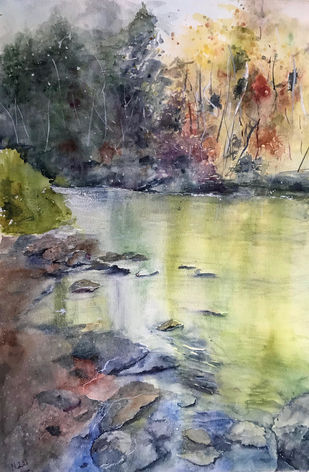 Calming lake by Nahid Aamina Sowkath, Impressionism Painting, Watercolor on Paper, Gray color