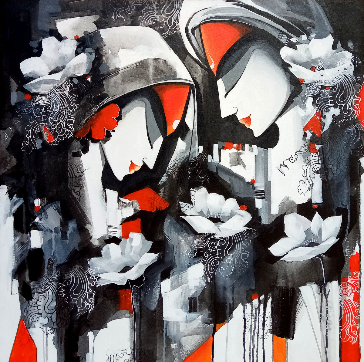love story by pradeesh k raman, Decorative Painting, Acrylic on Canvas, Gray color