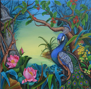Evening Song (6) by Vani Chawla, Fantasy Painting, Acrylic on Canvas, Green color