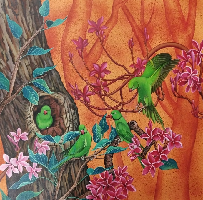 The Quartet by Vani Chawla, Fantasy Painting, Acrylic on Canvas, Brown color