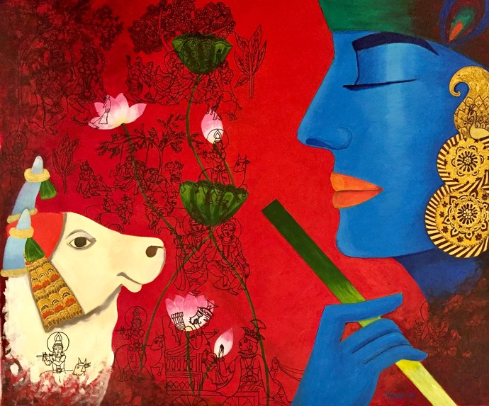 Tranquil Krishna with Kamadhenu by Kangana Vohra , Expressionism Painting, Acrylic & Ink on Canvas, Red color
