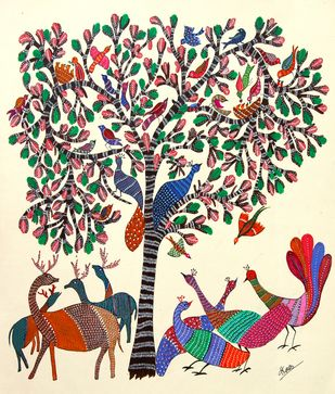 ANCIENT GOND ARTS ON HANDMADE PAPER by HARPREET KAUR PUNN, Folk Painting, Acrylic & Ink on Paper, Beige color