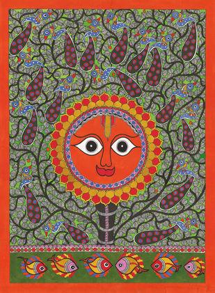 Sun Digital Print by Sarita Devi,Folk