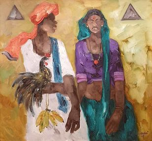 """Badami People, Oil on Canvas by Contemporary Artist """"In Stock"""" by J M S Mani, Expressionism Painting, Oil on Canvas, Brown color"""