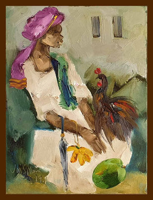 """Badami People, Oil on Canvas by Indian Contemporary Artist """"In Stock"""" by J M S Mani, Expressionism Painting, Oil on Canvas, Beige color"""