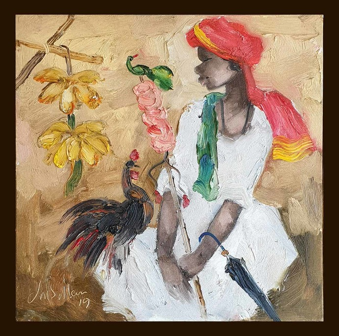 """Badami People, Oil on Canvas by Indian Contemporary Artist """"In Stock"""" by J M S Mani, Expressionism Painting, Oil on Canvas, Brown color"""