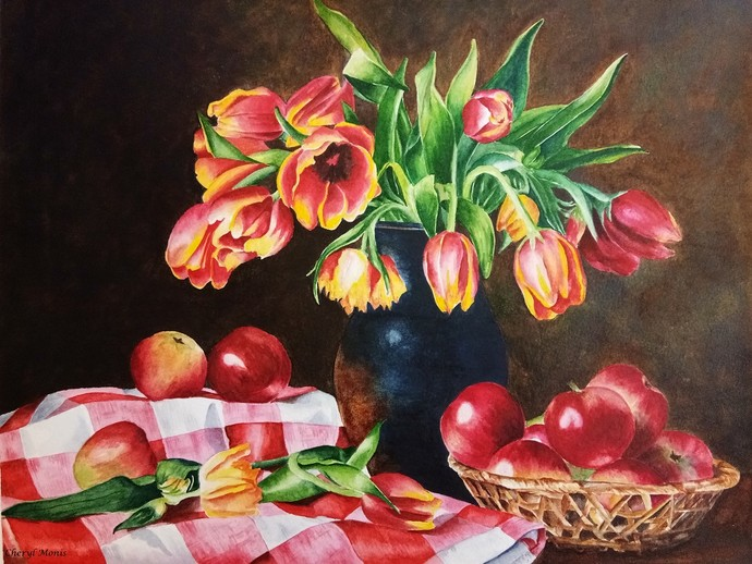 Brighten Your Day by Cheryl Monis, Impressionism Painting, Watercolor on Paper, Brown color