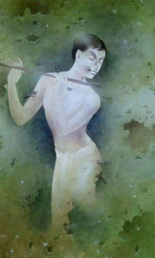 Boy Playing Flute by Mintu Naiya, Traditional Painting, Mixed Media on Paper, Green color