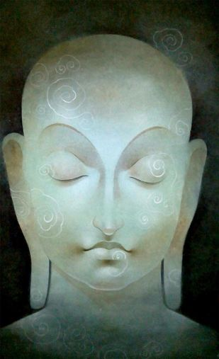 Buddha by Mintu Naiya, Traditional Painting, Mixed Media on Paper, Green color