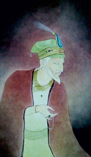 King by Mintu Naiya, Traditional Painting, Watercolor Wash on Paper, Brown color