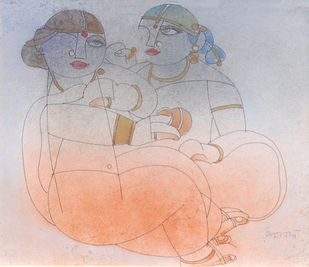 """Saheli, Mixed Media, Brown, Orange, Red by Modern Artist """"In Stock"""" by Ramananda Bandyopadhyay, Impressionism Painting, Mixed Media on Paper, Gray color"""