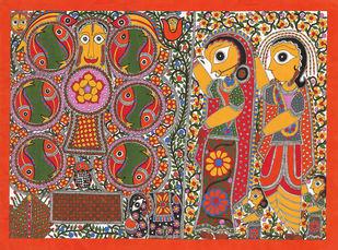 Marriage Scene- Kobar Digital Print by Sarita Devi,Folk