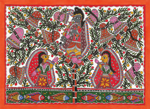 Gopi Vastra Haran-krishna Leela by Sarita Devi, Folk Painting, Acrylic on Paper, Brown color