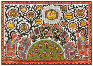 Cute Monsters In Jungle by Sarita Devi, Folk Painting, Acrylic on Paper, Brown color