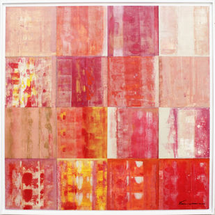 STELLAR MEMORIES 83 by V .Hariraam , Abstract Painting, Acrylic on Canvas, Pink color