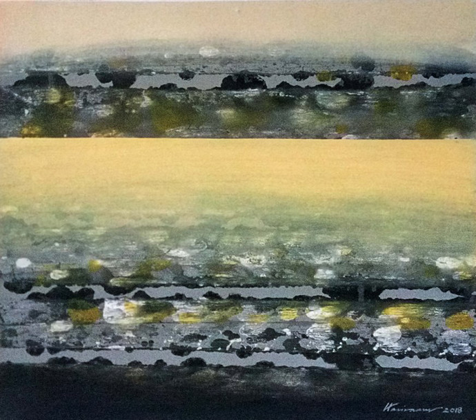 FROM STELLAR MEMORY 13B by V .Hariraam , Abstract Painting, Acrylic on Canvas, Beige color