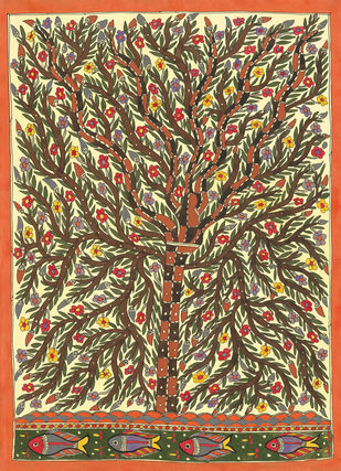 Life Of Tree by Sarita Devi, Folk Painting, Acrylic on Paper, Brown color