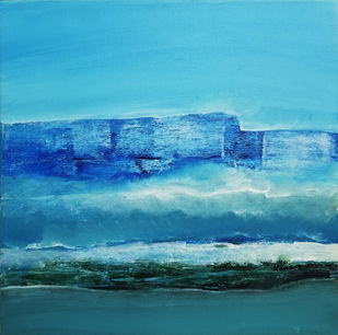 STELLAR BLUE by V .Hariraam , Abstract Painting, Acrylic on Canvas, Cyan color